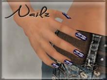 ::BnB:: Nailz ~Blue with White Snowflakes~ prim nails for Winter/Christmas PROMO