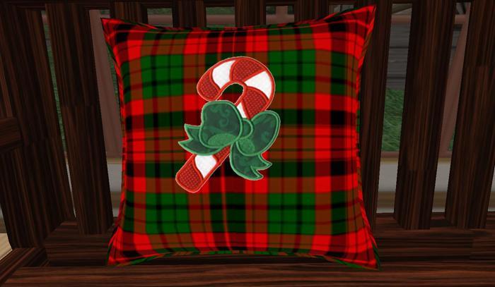Christmas Plaid w/ Candy Cane Pillow