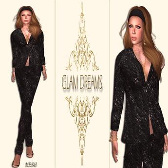 * 50% OFF !!! - Glam Dreams Modern Elegance Pant Suit (Black)