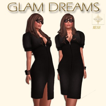 * 60% OFF !!! - Glam Dreams Zippered Cocktail Dress (Black)