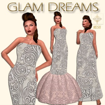 * 75% OFF !!! - Glam Dreams Mesh Vintage Swirl Gown (White)