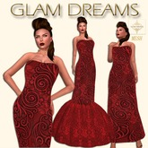 * 75% OFF !!! - Glam Dreams Mesh Vintage Swirl Gown (Red)