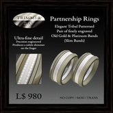 Partnership Rings (slim band) - Tribal Design Engraved in Polished Platinum Bands by Trimmer Bay