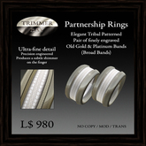 Partnership Rings (broad bands) - Tribal Design Engraved in Polished Platinum Bands by Trimmer Bay