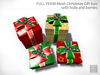 FULL PERM 230 Mesh Christmas Gift box with holly and berries/Builderkit