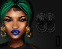 ::LC:: Lion Door Knocker Earrings [black]
