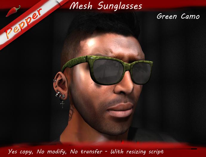 ~Pepper~Green Camo Sunglasses (Mesh)