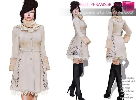 Full Perm Rigged Mesh Ladies Lace and Fur Trim Winter Coat