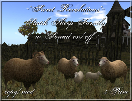 ~*SR*~ Static Sheep Family w. sound on/off c/m Box