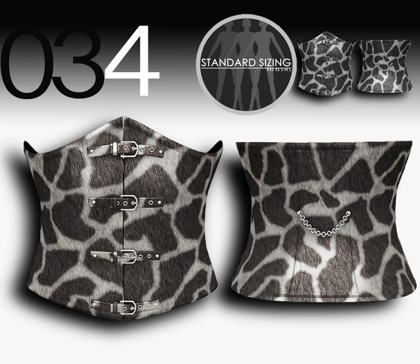 baii maii 034 under bust corset/mesh/animal print, comes in 2 grey and coco