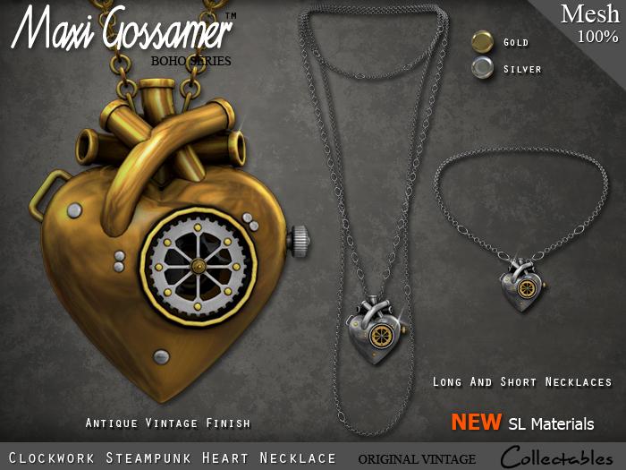 Necklace - Clockwork Steampunk Heart