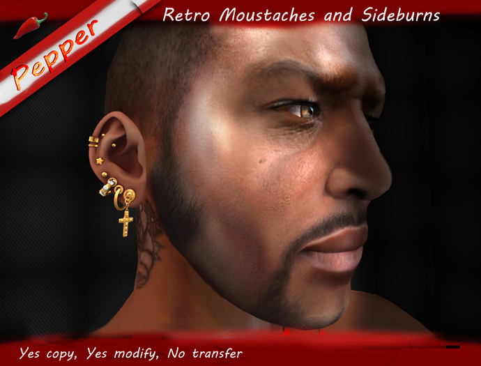 ~Pepper~Retro Moustaches and Sideburns