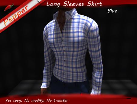 ~Pepper~Long Sleeves Check Shirt *Blue*