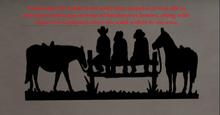 Silhouette  Cowboys Fence landscape steel plate decoration can modify size