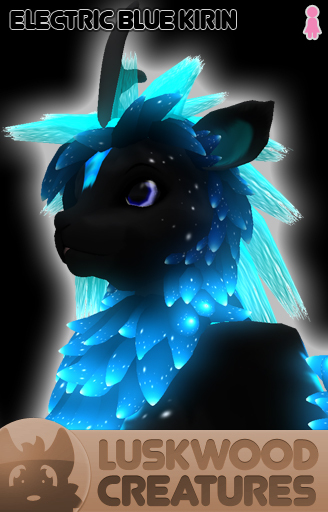 Luskwood Electric Blue Kirin Avatar - Female - Complete Furry Avatar