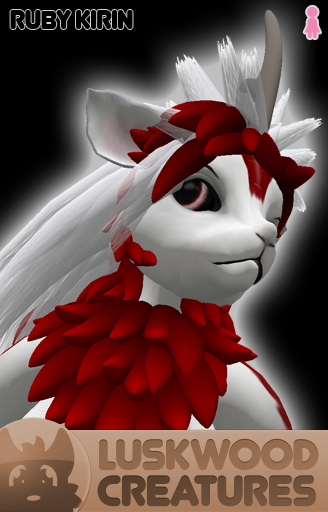 Luskwood Ruby Kirin Avatar - Female - Complete Furry Avatar