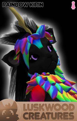 Luskwood Rainbow Kirin Avatar - Female - Complete Furry Avatar
