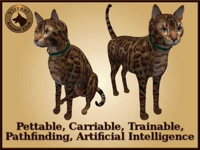 VKC® Brown Bengal Cat-Artificially Intelligent (AI) Trainable Pathfinding Cat-No Food Required-Virtual Kennel Club Pets