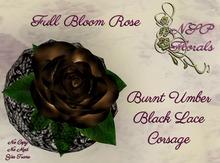 NSP Fullbloom Rose Corsage Burnt Umber Blk Lace