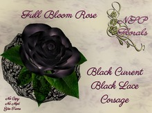 NSP Fullbloom Rose Corsage Black Current W Lace