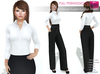 Full Perm Rigged Mesh Ladies Slim Blouse Tucked for High Waists