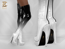 BAX Regency Boots Black-White Patent Leather