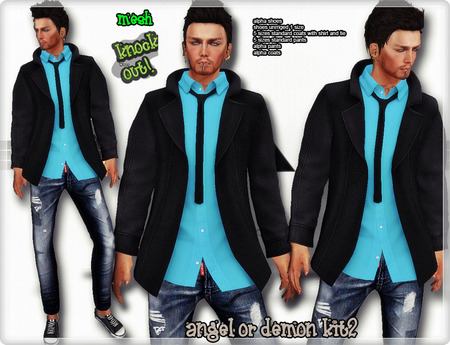 ..::knockout..::Angel or demon mesh men outfit kit 2