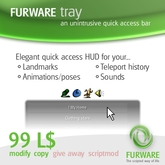 FURWARE tray - Quick access to landmarks, animations and more