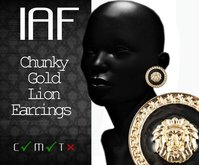 IAF Chunky Gold Lion Earings