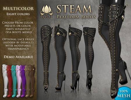 [ROSAL] STEAM Thigh Platform Boots - Multicolor (Mesh)