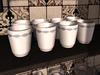 Dutchie mesh 8 white porcelain cups with blue decoration