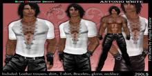 fRmen-0003 antonio white men outfit.  Men outfit, gloves, offer, dollarbien, leather, necklace, man