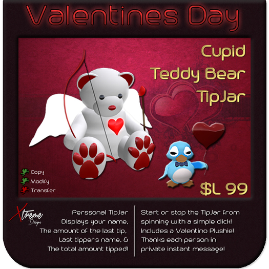 ♥♥♥ Cupid Teddy TipJar ♥♥♥ Valentine's Day