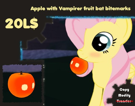 Second Life Marketplace Apple With Vampire Fruit Bat Bite Marks