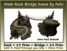 Mesh Rock Bridge Scene Rock 19 Prim+Bridge 14 Prim copy-mody