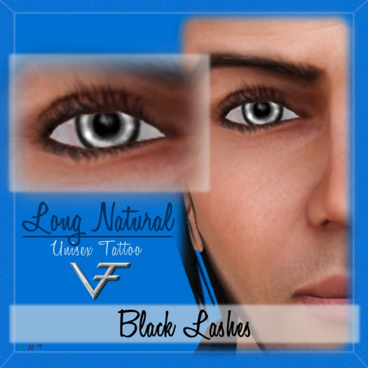 BLACK Unisex Long Natural Eyelashes (Without Eyeliner) - Tattoo Layer