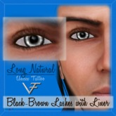 BLACK-BROWN Unisex Long Natural Eyelashes With Eyeliner - Tattoo Layer