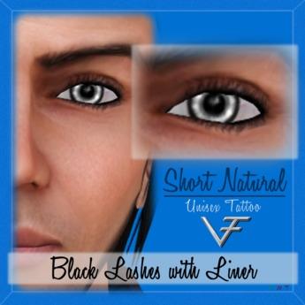 BLACK Unisex Short Natural Eyelashes With Eyeliner - Tattoo Layer