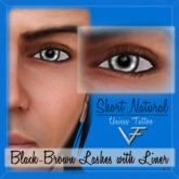 BLACK-BROWN Unisex Short Natural Eyelashes With Eyeliner - Tattoo Layer