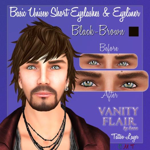 Basic BLACK-BROWN Unisex Short Eyelashes & Eyeliner