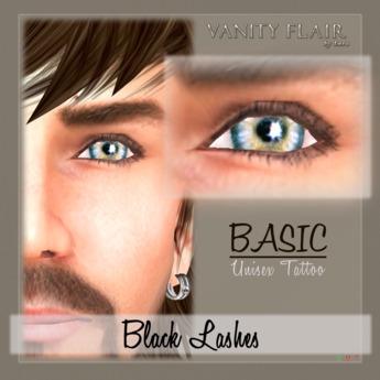 Basic BLACK Unisex Eyelashes (no eyeliner) - Tattoo Layer