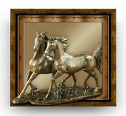 BRONZE - Two Wild Horses .. POP-OUT