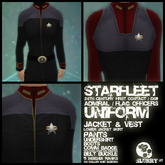 Starfleet TNG Movies/DS9 Flag Officers uniform + comm badge/pips (m/f)