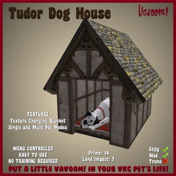 Tudor Dog House by Vavoom! - Toys and Accessories for Virtual Kennel Club (VKC®) Dogs - Pet House - No Training Required