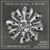 BLACK BEAUTY HOLLLYHOCK  JEWELED FLOWER RING