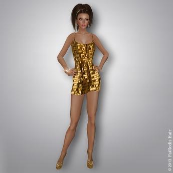 FaiRodis Golden Rain mesh dress