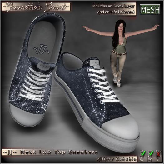 ~JJ~ Mesh Low Top Sneakers (glitter tintable)
