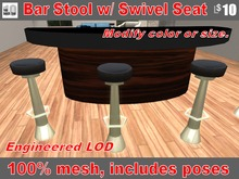 Bar Stool Pedestal Style Rotating Seat. Great for Clubs-- or even a Linden Premium Home!