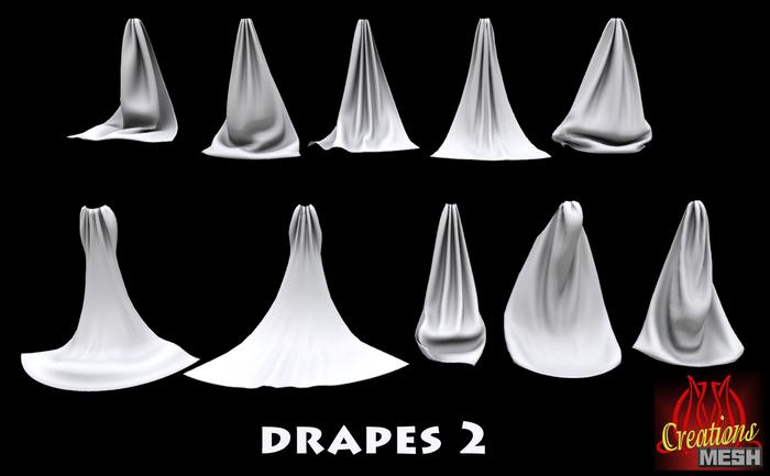 Drapes 2 FULL PERM MESH fabric curtains curtain drape cape