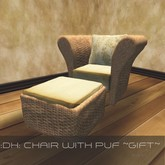 Garden Chair with puf sculpted, low prim